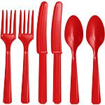 Red Plastic Cutlery Set