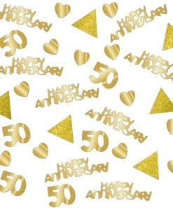 50th Gold Sparkling Wedding Anniversary Confetti