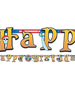 Pirate Skull Party Happy Birthday Banner