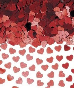 Red Sparkle Hearts Metallic Confetti