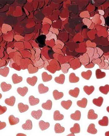 Red Sparkle Hearts Metallic Confetti