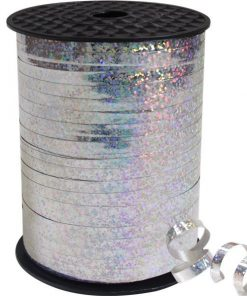 Silver Holographic Curling Balloon 5mm Ribbon