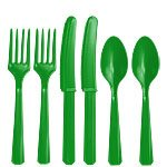 Green Plastic Cutlery Set