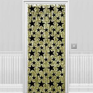 Gold with Black Stars Metallic Curtain