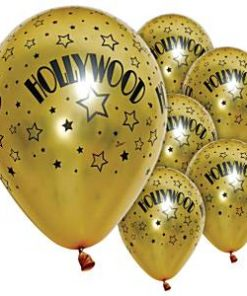 Hollywood Party Stars Printed Gold Latex Balloons
