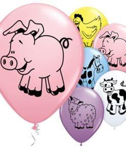 Farm Animal Printed Latex Balloons