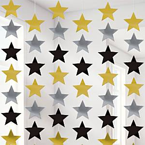 Gold and silver star string decoration