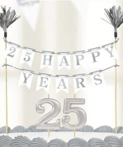 25th Silver Sparkling Wedding Anniversary Cake Decoration Kit