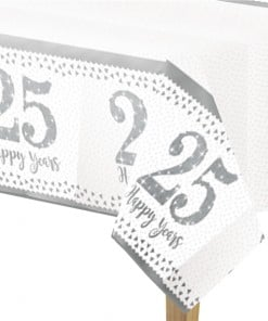25th Silver Sparkling Wedding Anniversary Plastic Tablecover