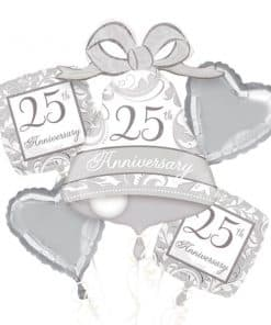 25th Silver Sparkling Wedding Anniversary Balloon Bouquet