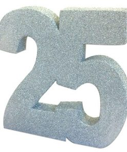 25th Silver Sparkling Wedding Anniversary Glitter Table Decoration
