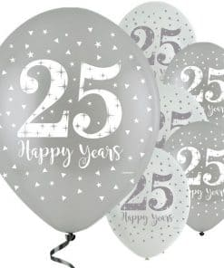 'Happy 25 Years' Silver Anniversary Latex Balloons