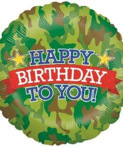Holographic Camouflage Birthday Balloon