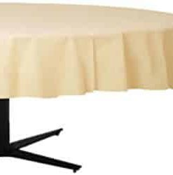Cream Round Plastic Party Tablecover