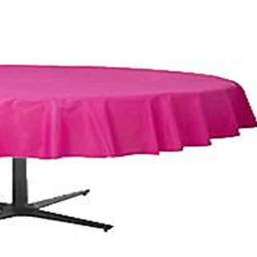 Hot Pink Party Plastic Round Tablecover