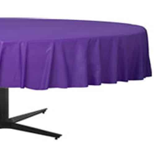 Purple Party Plastic Round Tablecover