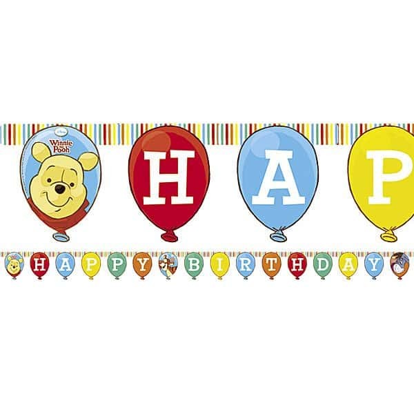 Winnie The Pooh Party Happy Birthday Banner