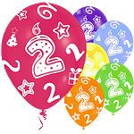 age 2 printed balloons
