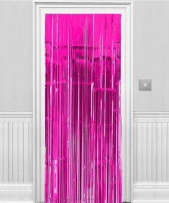 Bright Pink Metallic Fringed Door Curtain