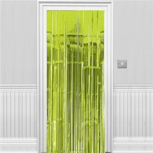 Lime Green Metallic Fringed Door Curtain