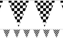 grand prix checked Black and White Bunting