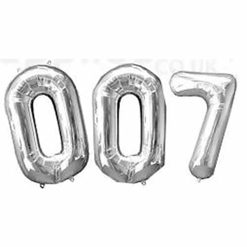 Silver Supershape Number Foil Balloons