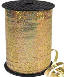 Gold Holographic Curling Balloon Ribbon