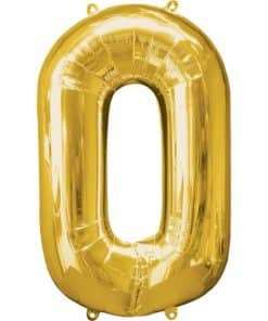 Gold Number 0 Balloon
