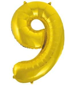 Gold Number 9 Balloon