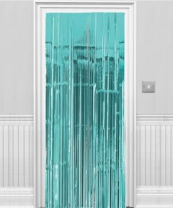 Turquoise Metallic Fringed Door Curtain