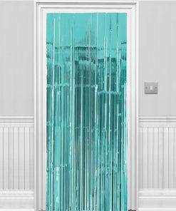 Turquoise Metallic Fringed Door Curtain