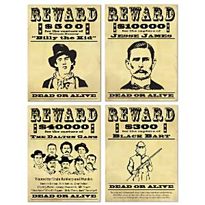 Wanted Sign Cutout Posters