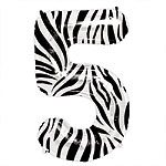 Zebra Print Number 5 balloon EACH (uninflated)