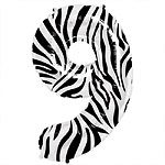 Zebra Print Number 9 balloon EACH (uninflated)