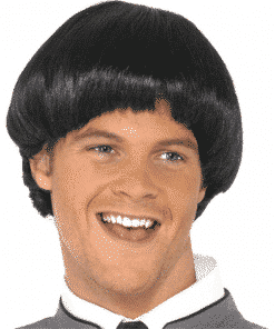 60's Style Bowl Mod Adult Black Wig