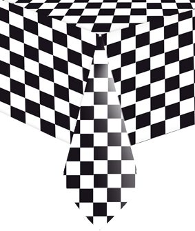 Grand Prix Black and White Checkered Plastic Party Tablecover