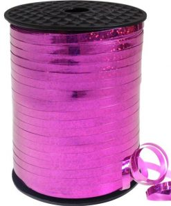 Hot Pink Holographic Curling Balloon Ribbon