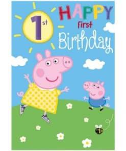 Peppa Pig 1st Birthday Card