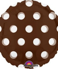 Polka Dots Brown Round Foil Balloon