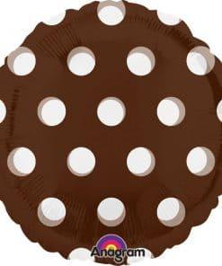 Polka Dots Brown Round Foil Balloon
