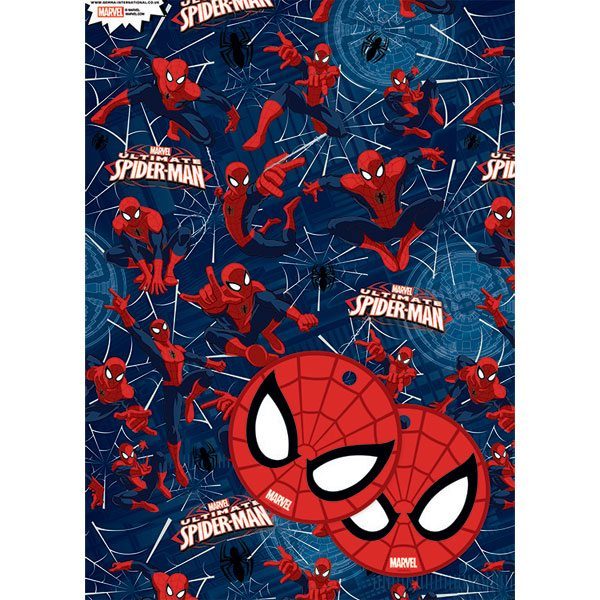 spiderman wrapping paper The spider-man for the card i found online but the web and the spider-man for the wrapping paper was found in the make the cut gallery i cut out all pieces from the cardstock and assembled them immediately so i didn't loose the small pieces on my black hole of a craft table.