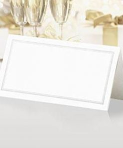 White & Silver Wedding Place Cards