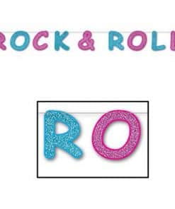 Rock & Roll 1950's Party Supplies Glittered Rock and Roll Banner