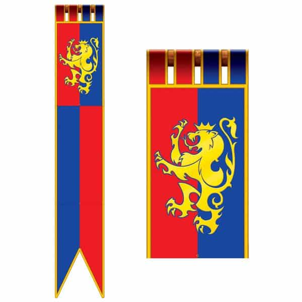 Jointed Medieval Pull Down Cutout Long Flag