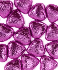 Pink Foil Chocolate Hearts