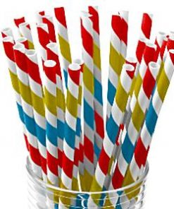 Rainbow Stripe Paper Staws