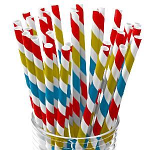Rainbow Stripe Paper Staws