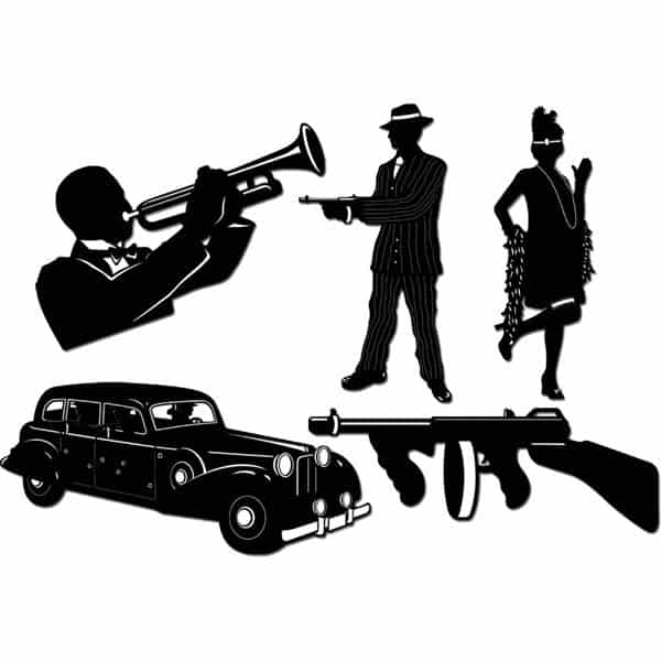 1920s Gangster Silhouettes Decorations