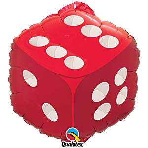 Red & White Dice Design Foil Balloon