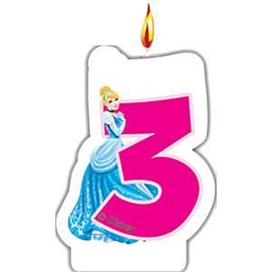 Disney Princess & Animals Party 3rd Birthday Candle